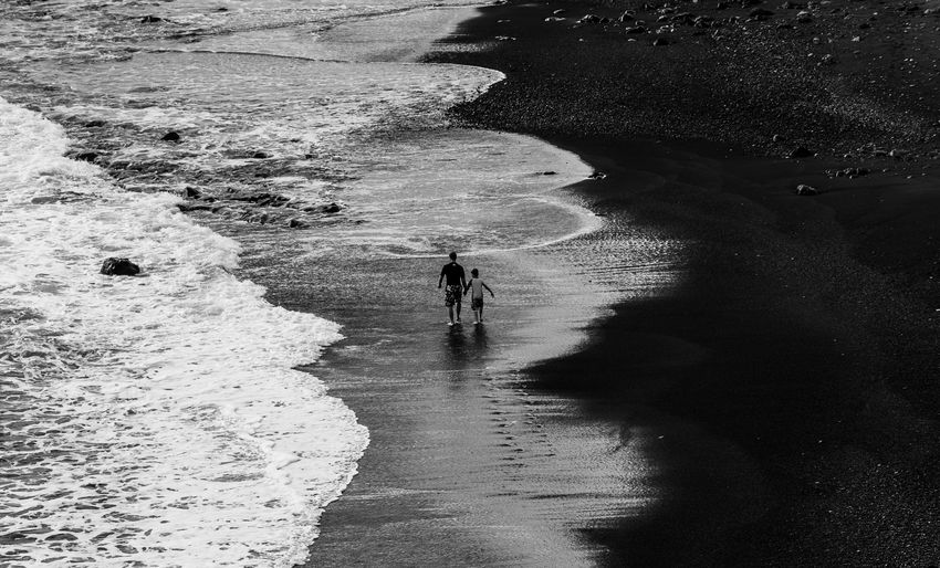 High Angle View Of Father And Son And Walking At Beach