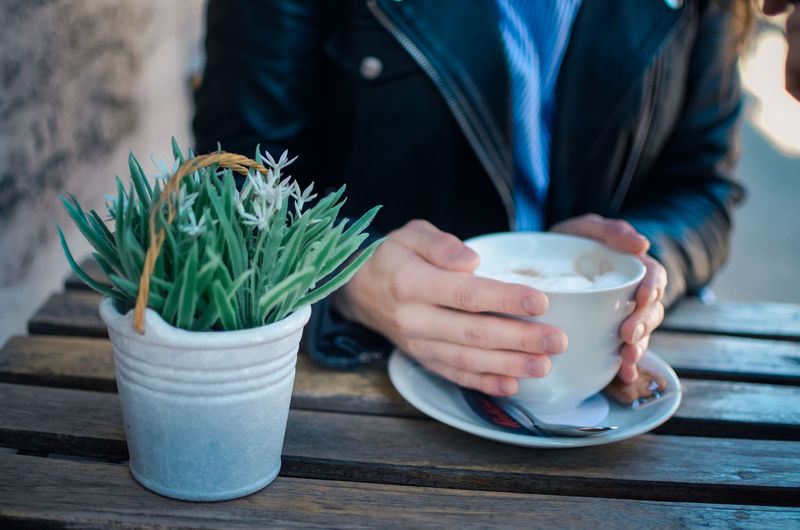 One Person Food And Drink Drink Table Midsection Holding Real People Refreshment Freshness Cup Green Color Mug Coffee Cup Women Front View Focus On Foreground Adult Day Potted Plant Hand Crockery