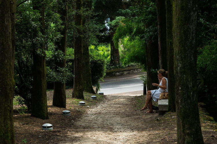 Woman Sitting On Bench By Footpath Amidst Trees In Forest