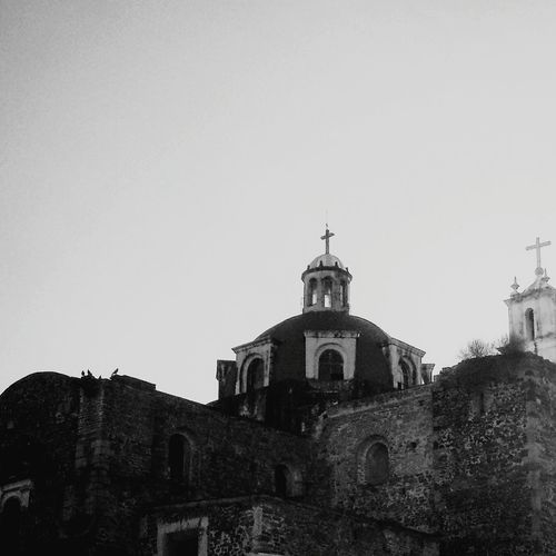 Church Opensky Black And White Amateurphotography Structure 16 Century Mexico Streetphotography Religious Architecture Light And Shadow Cross No Cloud In The Sky Distant View Rocks History Architecture