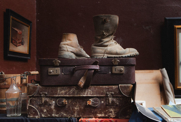 Old boots with old suitcases