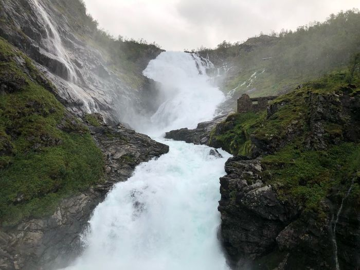 Kjosfossen waterfall Norway one of the most beautiful train journey Journey Norway Kjosfossen Water Beauty In Nature Scenics - Nature Nature Tree Motion Plant No People Power In Nature Rock Land Waterfall Cloud - Sky Day Sky First Eyeem Photo
