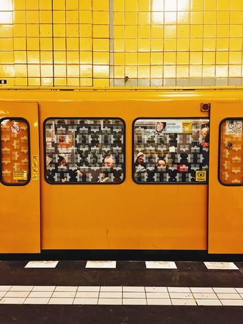 Under Station Underground Berlin Yellow Indoors  Transportation Public Transportation No People Day Mobility In Mega Cities