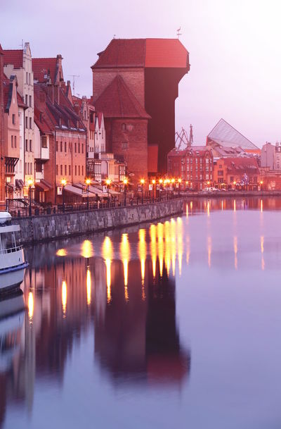Autumn Lights Mirrored Morning Old Town Poster Riverside Winter Architecture Building Building Exterior Buildings Built Structure City Crane Day Dust Evening Gdansk Illuminated Motława No People Old Outdoors Reflection River Sky Travel Destinations Water Waterfront