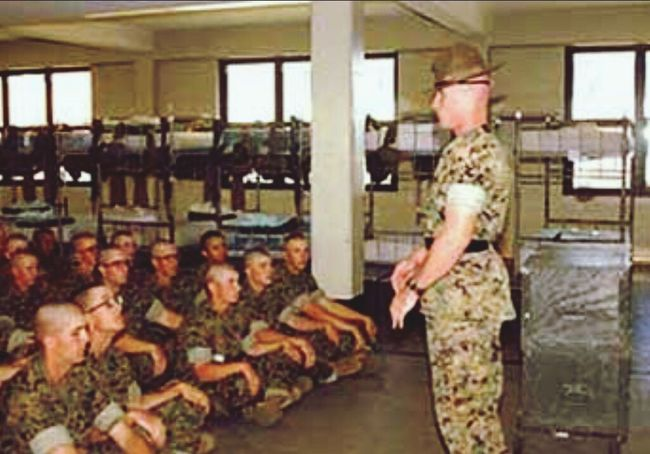 U.S Marine recruits in their barracks at Parris Island USA Us Military USMC Parris Island