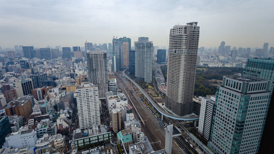 Aerial view of downtown tokyo with view of high rise buildings