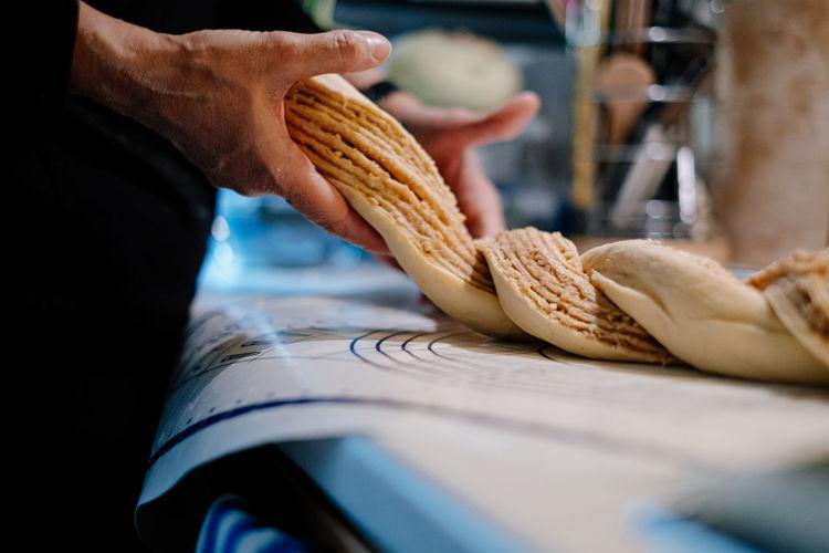 Close-up of hand holding cake dough