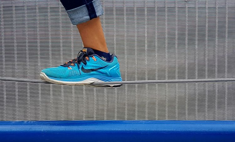 Blue Creativity Fun Activity Sport Human Representation Person Lifestyle Outdoors Cover Walking Detail Straight Nike✔ Air Up Balancing Act Balance ROPE WALK Rope Swing Active Shoe Advertising