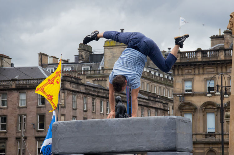 Block, performed by Motionhouse. From the 2016 Merchant City Festival Arts Balance Block City Climbing Cloudy Contortion Dance Dancers George Square Glasgow  Ground Hand Handstand  Merchant City Festival Motionhouse People Performance Pillar Portraits Scotland Sky Trooper My Year My View