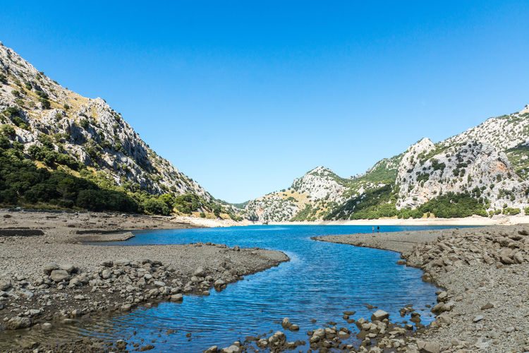 Empty reservoirs in a dry summer . Blue Creek Dry Landscape Gorg Blau Hot Day Landscape_Collection Landscape_photography Malephotographerofthemonth Mallorca Mallorcaphotographer No Clouds Outdoor Photography Reflection Reservoir River Water