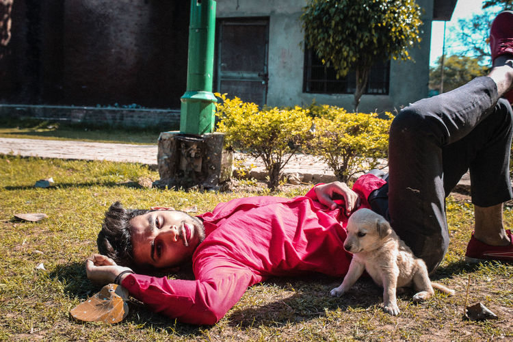 Rear view of child with dog lying down