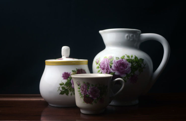 Flower Black Background Studio Shot Variation Indoors  Teapot Close-up StillLifePhotography Porcelain Cup Design