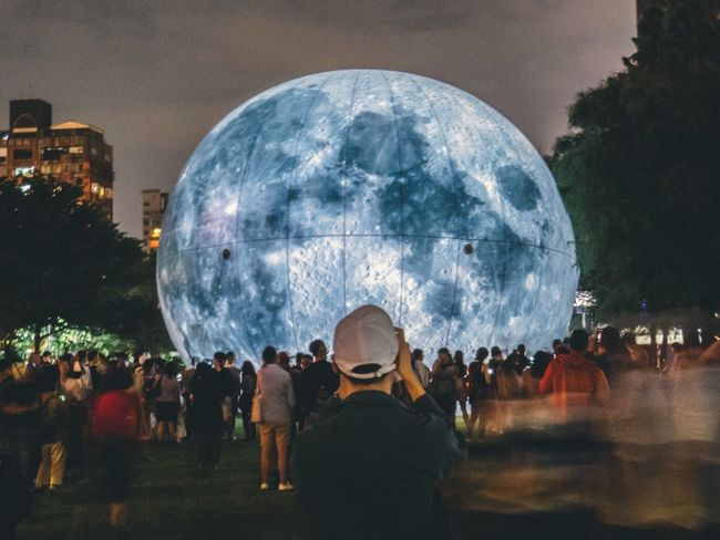 Moon Mood Moon Group Of People Large Group Of People Crowd Real People Night Sky