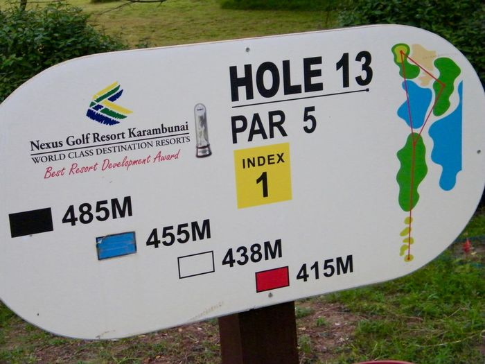 For golf players ASIA Borneo Close-up Golf Field Golf Plate Grass Information Information Sign Malaysia No People Outdoors Resort Sign Sign Plate Signboard