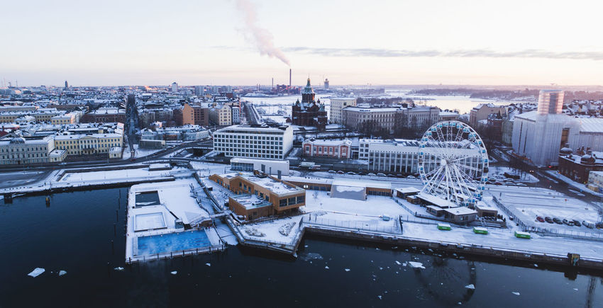 Cityscape Finland Finnish Nature Helsinki Ice Winter Aerial Allas Sea Pool Architecture Building Building Exterior Built Structure Centre City Cold High Angle View Ilmakuva Katajanokka No People Outside Pool Pool Snow Sunrise Sunset Water