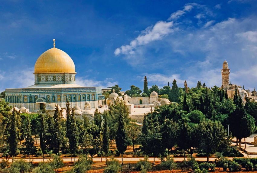 The Dome of the Rock Mosque - Jerusalem, Israel Architecture Sky Tree Spirituality Day Outdoors Religion Jerusalem Dome No People Place Of Worship Holy City Travel Destinations Building Exterior Built Structure Old Jerusalem Place Of Worship Architecture Sculpture Dome Of The Rock Jerusalem A Taste Of Israel
