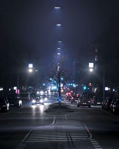 Traffic on street at night