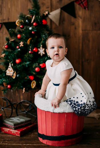 Portrait of cute baby girl in basket with christmas tree at home