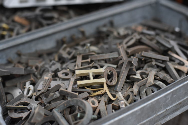 Close-up of wooden alphabets in container