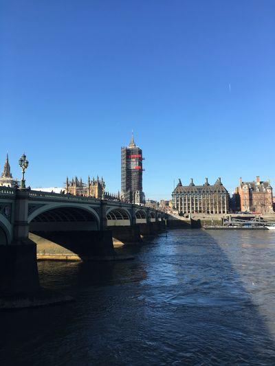 Big Ben wrapped London Architecture Built Structure Sky Building Exterior Water City Clear Sky Cityscape Tourism Bridge Travel Destinations River Building