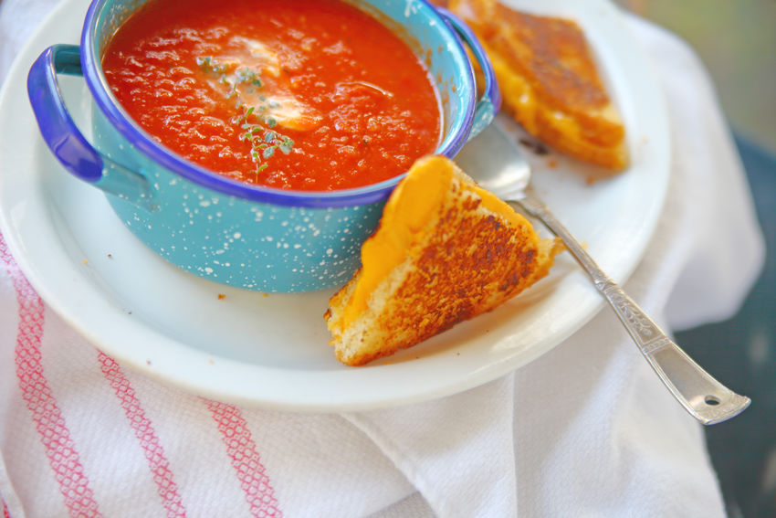 Tomato soup and grilled cheese lunch American Foods Blue Bowl Close-up Colorful Comfort Food Day Dinner Dish Towel Fabric Freshness Healthy Eating Home Food Indoors  Lunch Natural Light No People Overhead Ready-to-eat Sandwich Snack Spoon Studio Shot Supper Tomato Soup And Grilled Cheese White Plate