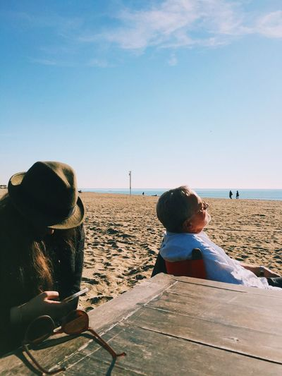 Chillin Two People Sea Water Sitting Real People Sky Relaxation Lifestyles Horizon Over Water Rear View Leisure Activity Day Togetherness Men Beach Nature Outdoors Childhood Beauty In Nature Vscogood Vscocam VSCO
