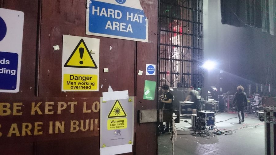 Backstage Roadies Signs Health And Safety Communication Men City Life Lighting Equipment