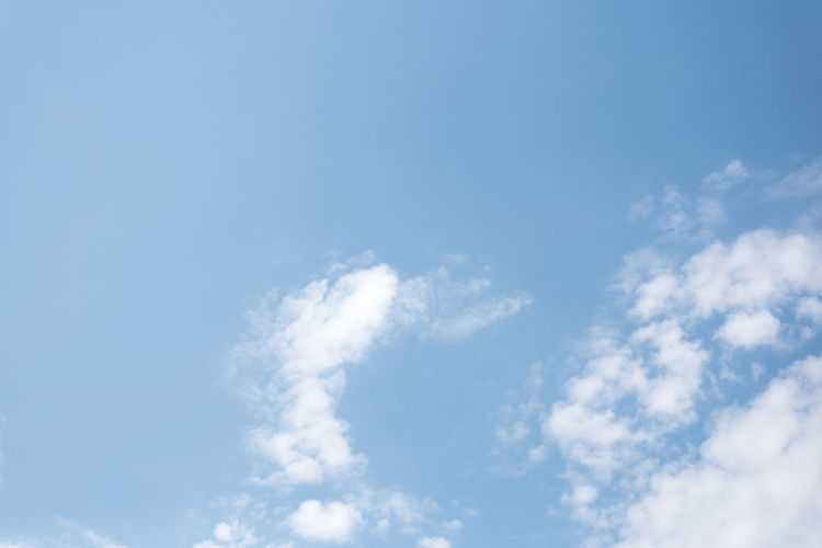 blue sky with clouds Morning Atmosphere Backgrounds Beauty In Nature Blue Clean Cloud - Sky Cloudscape Copy Space Day Environment Idyllic Low Angle View Meteorology Nature No People Outdoors Scenics - Nature Sky Softness Sunlight Tranquil Scene Tranquility White Color Wind