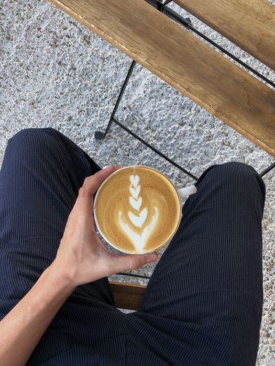 Menswear Mensfashion Latte Tucson Coffee - Drink Coffee Drink Coffee Cup Cup One Person Autumn Mood Food And Drink Refreshment Mug Real People Lifestyles Froth Art Personal Perspective High Angle View Hot Drink Human Body Part Frothy Drink Heart Shape Holding Indoors