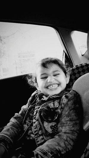 BYOPaper! Kidsphotography Car Interior Girls Happiness One Person Front View Looking At Camera Moroccan Sahara Laayoune Laayounemorocco Black And White Friday