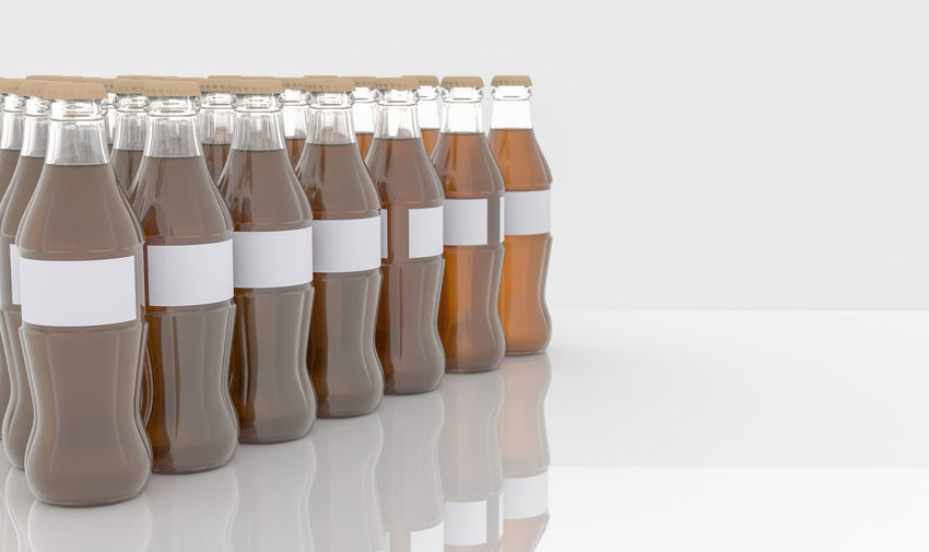 Glass bottle on white background, 3D Rendering Close-up Cola Day Drink Food Food And Drink Freshness In A Row Indoors  No People White Background