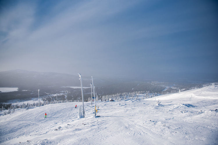 High angle view of ski slope against sky at levi