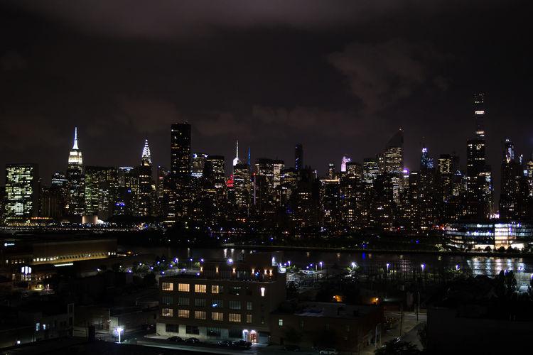 New York City Night Illuminated Cityscape Skyscraper Outdoors City Life Urban Skyline Architecture Nightlife Queens View