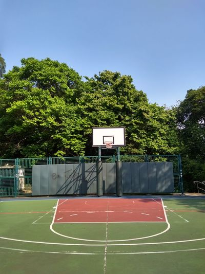 Empty basketball hoop against sky