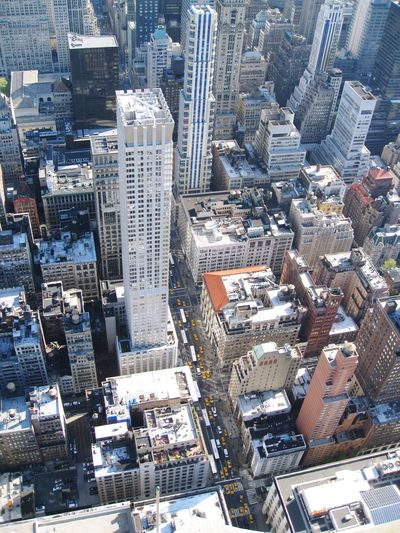 High angle view of modern buildings in new york city