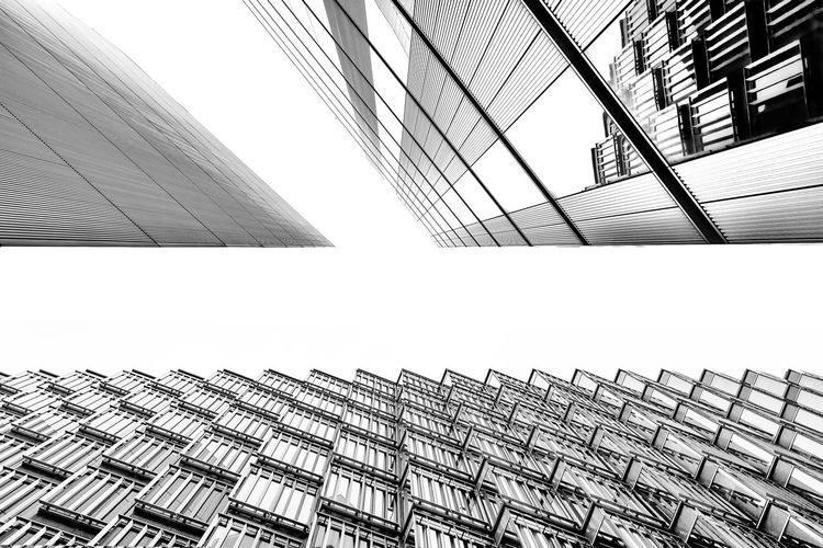A photo looking up capturing three different buildings Architecture Architecture Architecture_collection Architecturelovers Building Exterior Built Structure CBD Cbd Life City Corporate Business Day London London Lifestyle LONDON❤ Looking Looking Up Looking Up At The Sky Modern No People Office Outdoors Tall Window