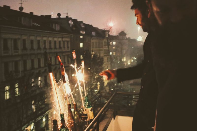 Real People Sparkler Fireworks New Year's Eve Fireworks Nightphotography Outdoors