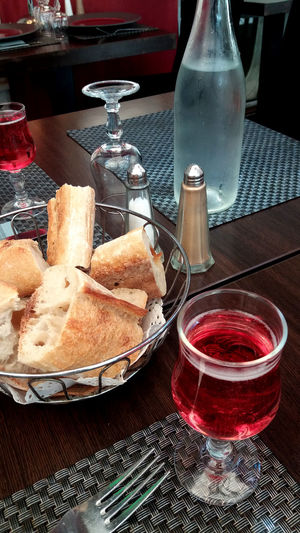 French Restaurant Day Drink Drinking Glass Food Food And Drink French Baguette Tied With Twine Freshness Indoors  Indulgence Kir Plate Ready-to-eat Red Still Life Table