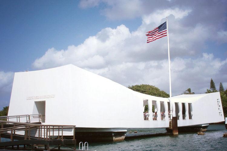 Pearl Harbor Memorial Cloud - Sky Cultures Day Flag Hawaii Nature No People Oahu Outdoors Patriotism Pearl Harbor Pearl Harbor Memorial Sky Uss Arizona Uss Arizona Memorial Water