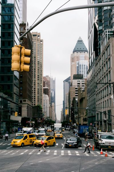 Busy Streets Architecture Building Exterior Built Structure Car City City Life Cityscape Day New York ❤ Outdoors Road Skyscraper Traffic Transportation Travel Destinations Urban Yellow Yellow Taxi