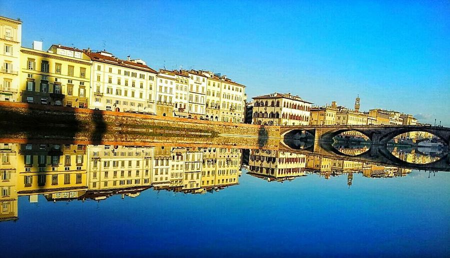EyeEmNewHere Reflection Blue Clear Sky Architecture No People Building Exterior Riflessosullacqua Fiume Arno Florence Firenze Italy Italy🇮🇹 Beautiful Destinations