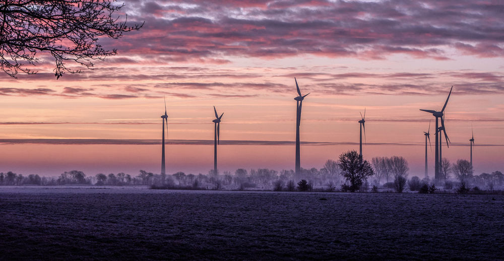 Frosty winter morning in Ostfriesland Sky Nature No People Fuel And Power Generation Cloud - Sky Wind Turbine Environment Renewable Energy Orange Color Turbine Alternative Energy Wind Power Beauty In Nature Scenics - Nature Technology Land Sustainable Resources Tree Sundawn Winter Hazy
