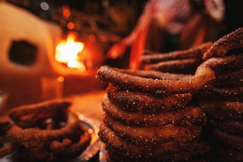 Close-up of chocolate pretzels