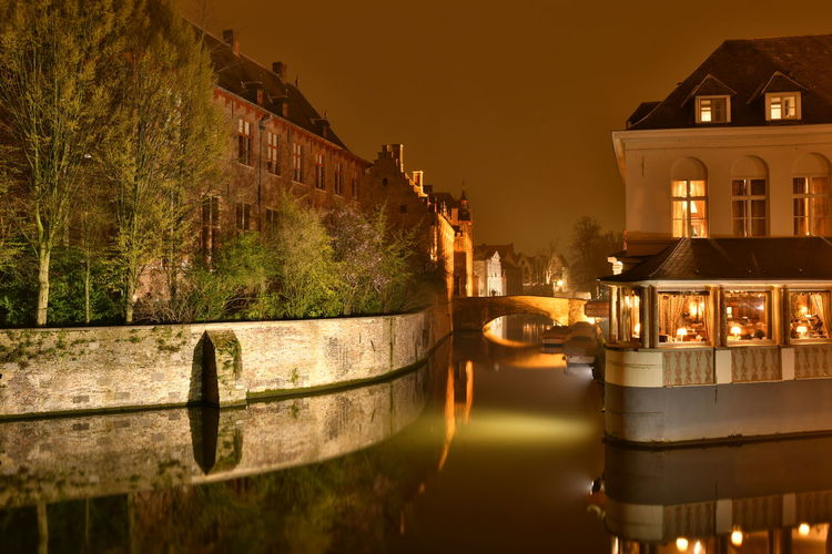 Visiting Brugge Brugge Brugge, Belgium Langzeitbelichtung Long Exposure Reflection Watersideview Architecture Built Structure Building Exterior Night Water Building Illuminated Nature Transportation No People Nautical Vessel Mode Of Transportation Residential District City Sky Outdoors Canal Dusk
