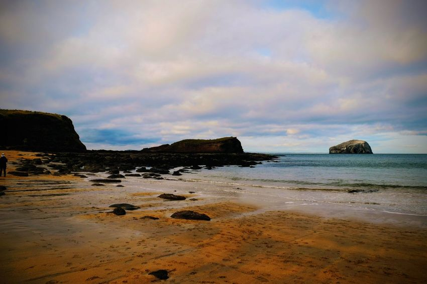 Sea Beach Sand Rock - Object Nature Water Cloud - Sky Beauty In Nature Tranquil Scene Scenics No People Tranquility Outdoors Sky Landscape Horizon Over Water Sunset Travel Destinations Day Low Tide Bass Rock Scotland The Great Outdoors - 2018 EyeEm Awards