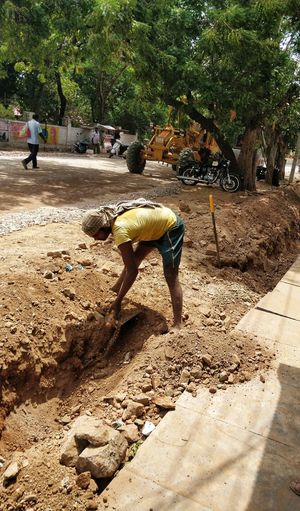 EyeEmNewHere EyeEm Best Shots Eyemphotography Photooftheday Outdoor Photography Tranquility Scenics Calm Freshness Shine On ✨ Sky Tranquil Scene Men Working Hard Working Digging Digging In Sand Tree Shadow Sand Sunlight Idyllic Rocky Mountains Beauty In Nature