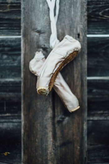 Ballet Ballet Shoes Close-up Detail Dirty Focus On Foreground Footwear Old Plank Selective Focus Shoe Wood