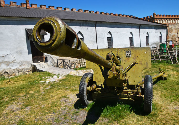 Old Artillery In Museum On Sunny Day