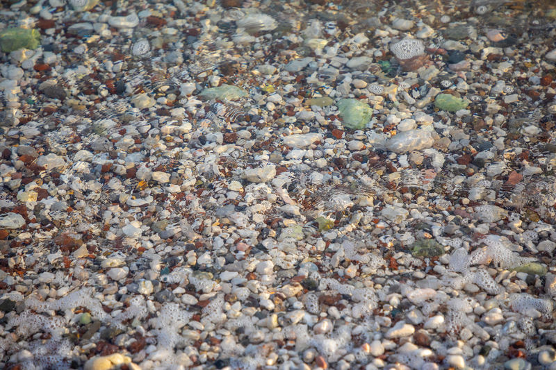 High angle view of stones on beach