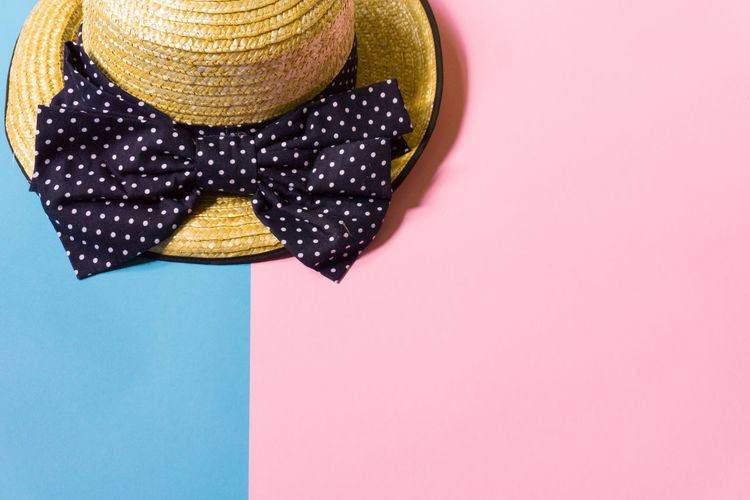 Close-Up Of Hat Over Colored Background